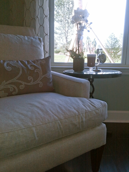 reading nook by window with latte