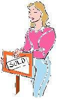 girl with sold sign