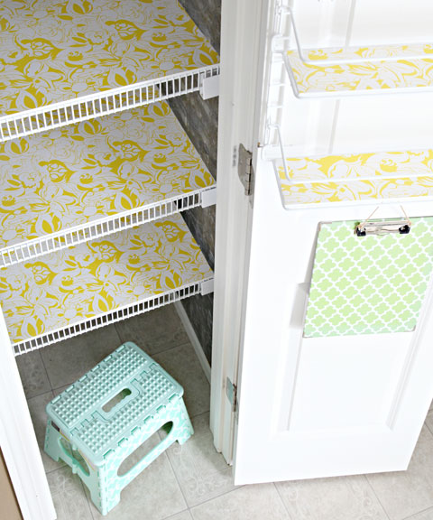 Organize pantry shelves with foam board covered in shelf liner!