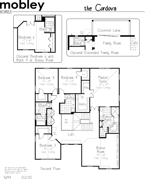 Cordova Floor Plan:  Second Floor