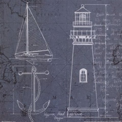 Coastal Blueprint Posters:  Lighthouse, Sailboat, and Anchor