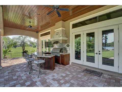Luxury Mediterranean Estate For Sale in Odessa, FL:  Covered Porch with Outdoor Kitchen