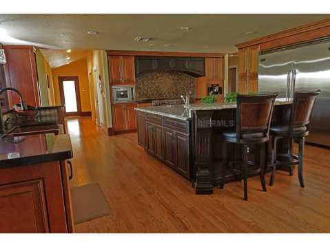 Custom Equestrian Estate for Sale in Plant City:  Gourmet Kitchen with Large Center Island