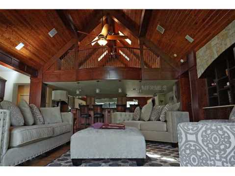 Custom Equestrian Estate for Sale in Plant City:  Two Story Great Room with Vaulted Wood Ceilings and Balcony