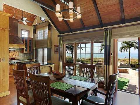 """Beachfront """"Castle"""" for Sale in Redington Beach, FL:  Kitchen and Dining Room with Water View"""