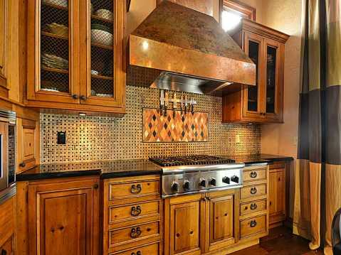 "Beachfront ""Castle"" for Sale in Redington Beach, FL:  Kitchen with Copper Stove Hood"