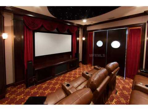 Beachfront Mediterranean For Sale:  theater room