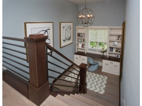 Modern Farmhouse Floor Plan:  Home Office Built Ins on Staircase Landing