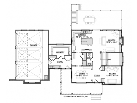 Modern Farmhouse Floor Plan: First Floor