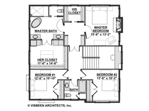 Modern Farmhouse Floor Plan:  Second Floor