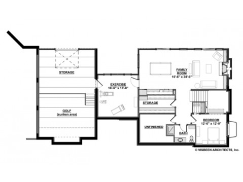Modern Farmhouse Floor Plan:  Basement