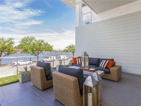 2014 Parade of Homes Modern Furnished Model Home For Sale on Davis Island:  Balcony Overlooking Channel and Downtown Tampa