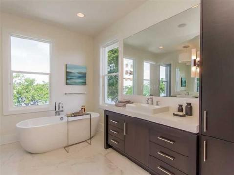 2014 Parade of Homes Modern Furnished Model Home For Sale on Davis Island:  Master Bathroom with Free Standing Tub