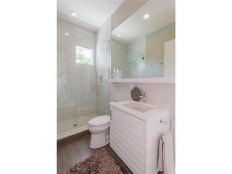 2014 Parade of Homes Modern Furnished Model Home For Sale on Davis Island:  Modern Bathroom with Glass Shower