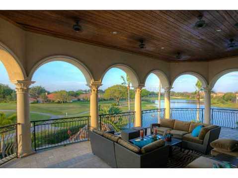 Prestigious Champions Club Home For Sale in Trinity, FL:  Balcony with Water View