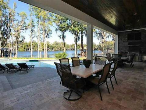 Custom Lakefront Home for Sale in Keystone Park Colony:  Poolside Covered Porch with Built In Grill