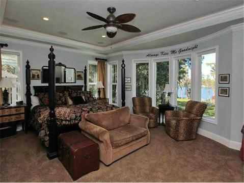 Custom Lakefront Home for Sale in Keystone Park Colony:  Large Master Suite with Bowed Picture Window