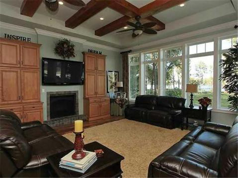 Custom Lakefront Home for Sale in Keystone Park Colony:  Family Room with Beams and Lake View